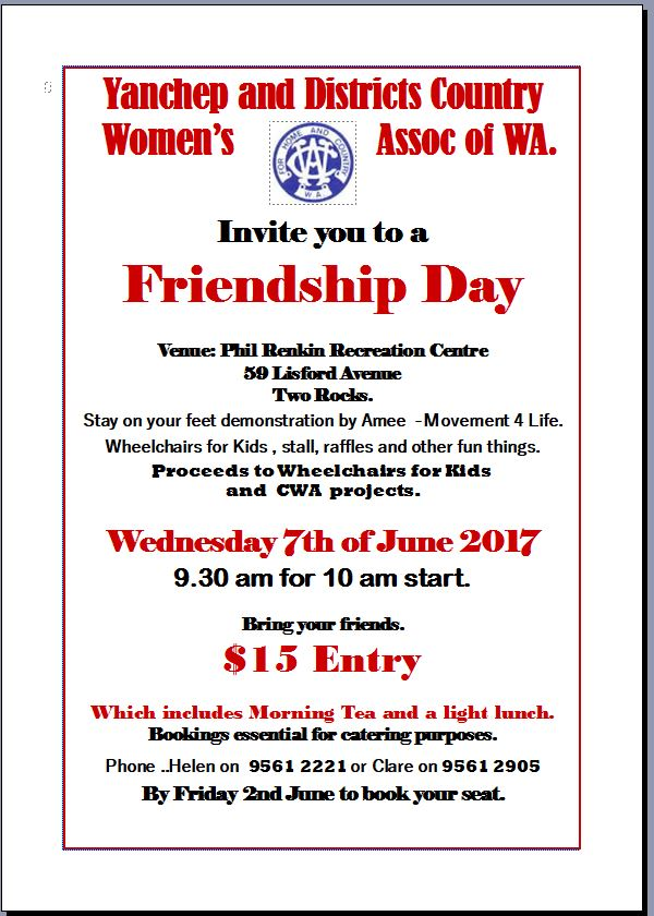 CWA Friendship Day June 2017 for Yanchep and Districts