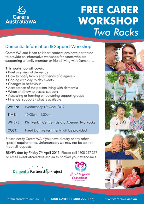 Free Carer Workshop Two Rocks April 2017 for Carers supporting someone with Dementia