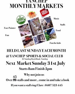 Yanchep Monthly Markets held the last Sunday of the Month on this Sunday 31st July 2016